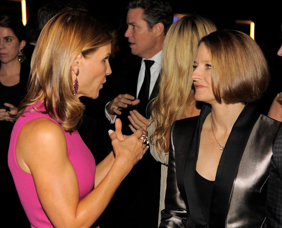 Actresses Lori Loughlin, left, and Jodie Foster attend the Wallis Annenberg Center for the Performing Arts Inaugural Gala on Thursday, Oct. 17, 2013, in Beverly Hills, Calif. (Photo by Chris Pizzello/Invision/AP)