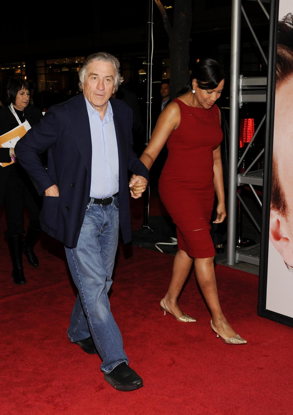 "Actor Robert De Niro and wife Grace Hightower attend the Tribeca Film Festival opening night premiere of ""The Five-Year Engagement"" at the Ziegfeld Theatre on Wednesday, April 18, 2012 in New York. (AP Photo/Evan Agostini)"