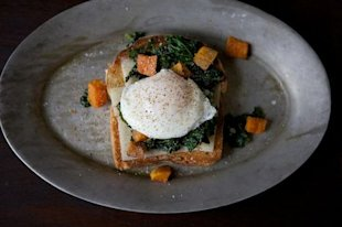 Sauteed Kale and Poached Egg