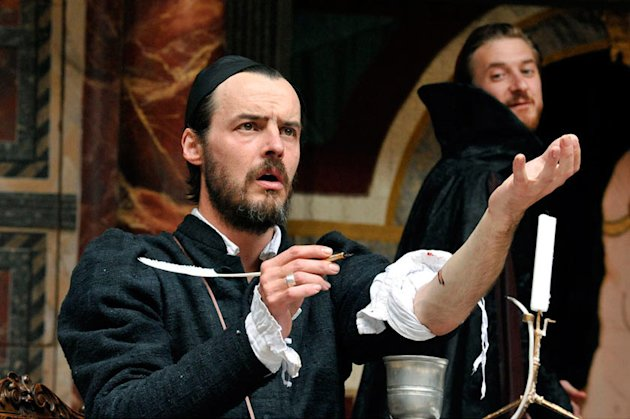 "This undated image released by Shakespeare's Globe Theatre shows Paul Hilton during a performance of ""Doctor Faustus."" Shakespeare's Globe Theatre, the restored Elizabethan playhouse on the south bank of the River Thames, is broadcasting some of its high-definition productions on movie screens. Starting this month, the Globe will begin offering its ""All's Well That Ends Well"" starring Janie Dee, ""Much Ado About Nothing"" with Eve Best, and ""Doctor Faustus"" with Paul Hilton in the title role in cinemas across America, Australia, New Zealand and Britain. All three shows were taped in 2011. (AP Photo/Shakespeare's Globe Theatre, Keith Pattison)"
