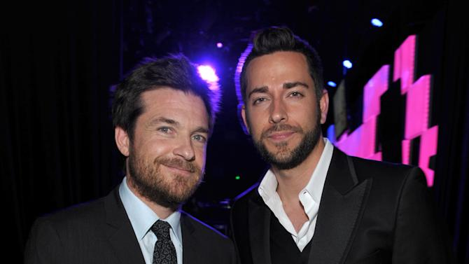 IMAGE DISTRIBUTED FOR ALZHEIMER'S ASSOCIATION - Actors Jason Bateman, left, and Zachary Levi pose backstage at the 21st Annual 'A Night at Sardi's' to benefit the Alzheimer's Association at the Beverly Hilton Hotel on March 20, 2013 in Beverly Hills, Calif. (Photo by John Shearer/Invision for Alzheimer's Association/AP Images)