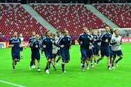 Italian players during a team training session on June 27. Italy coach Cesare Prandelli will be looking for his side to extend their proud record of never losing to Germany in a major finals when they meet in Thursday's Euro 2012 semi-final in Warsaw