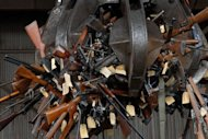 Guns unloaded by the South African Police Services are transported within a scrap metal facility in 2010 in Cape Town. Forty-two people are murdered a day in South Africa and sex crimes remain high despite small annual falls, statistics showed Thursday, in one of the world's most violent societies.