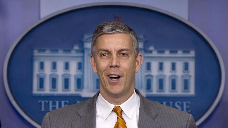 FILE - In this April 20, 2012, file photo Education Secretary Arne Duncan speaks durng the daily news briefing at the White House in Washington. President Barack Obama's vague stance on gay marriage is facing fresh scrutiny. Duncan has broken ranks with the White House, stating his unequivocal support for same-sex marriage. Duncan's comments on Monday, May 7, 2012, came one day after Vice President Joe Biden suggested he supported gay marriage, too. (AP Photo/Carolyn Kaster, File)