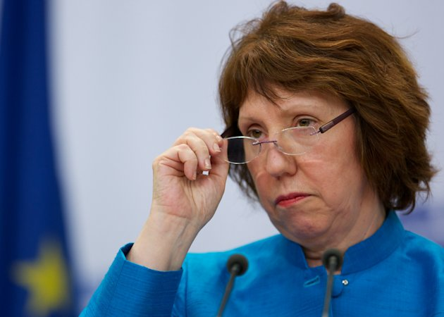EU foreign policy chief Catherine Ashton listens to a question during a news conference after discussions on the controversial Iranian nuclear program in Moscow, Russia, Tuesday, June 19, 2012. Iran and six world powers are suspending high-level talks meant to dispel suspicions that Tehran might turn its nuclear activities into making weapons, the EU's foreign policy chief said Tuesday. The announcement followed two days of intensive meetings that failed to bridge differences. (AP Photo/Alexander Zemlianichenko)