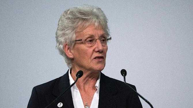 President of the Commonwealth Games Federation, Louise Martin, speaks during a meeting in Auckland, New Zealand, on September 2, 2015
