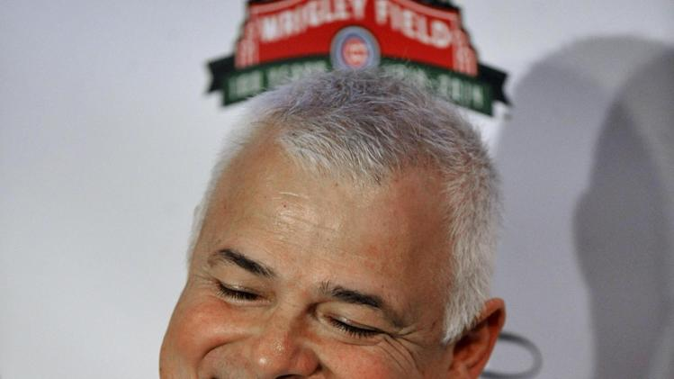 Chicago Cubs new manager Rick Renteria speaks to the media during a baseball press conference at Wrigley Field in Chicago, Thursday, Dec., 5, 2013. Renteria met with the media for the first time since he was hired last month, while recuperating in San Diego from hip surgery