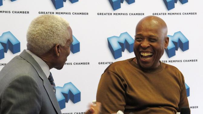 "Songwriter David Porter, right, laughs as Memphis Mayor A C Wharton Jr. talks about Porter's new national music mentorship program on Tuesday, Oct. 23, 2012 in Memphis, Tenn. Porter, who co-wrote the soul classics ""Soul Man"" and ""Hold On I'm Comin',"" hopes to create a talent pool of successful young musicians who will learn from music industry veterans involved in the Memphis-based program. (AP Photo/Adrian Sainz)"