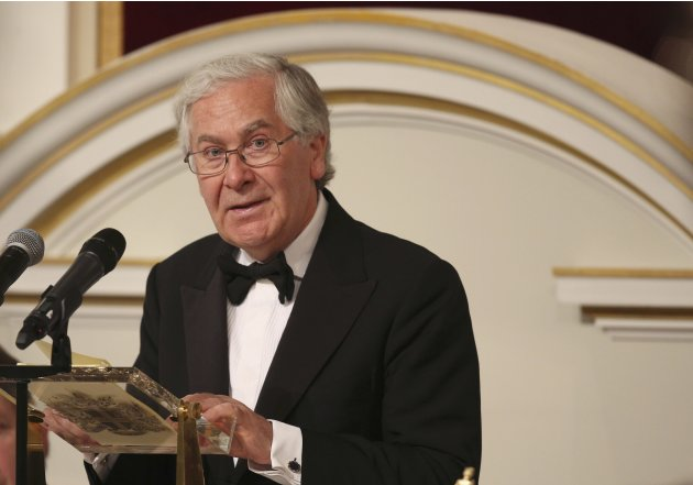 Governor of the Bank of England Mervyn King addresses the audience of the 'Lord Mayor's Dinner to the Bankers and Merchants of the City of London' at the Mansion House in London