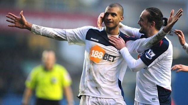 Bolton Wanderers' David Ngog (left) celebrates