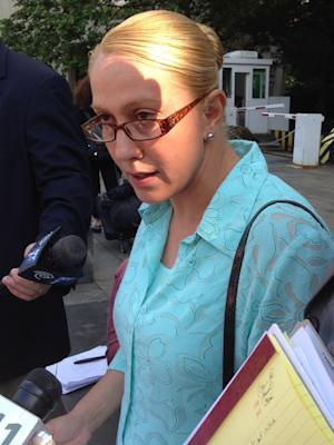 New York State Assemblywoman Gabriela Rosa, D-NY, speaks to the media outside federal court in New York, Friday, June 27, 2014. Rosa pleaded guilty to lying to immigration authorities on her marital relationship in 2005 and making false statements in a bankruptcy petition in 2009. The guilty pleas require her to resign from office and she could be sentenced to as much as 18 months in prison when sentenced on Oct. 3, 2014. (AP Photo/Larry Neumeister)