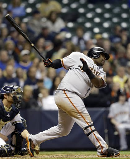 Brewers hand Zito first loss, beat Giants 10-8