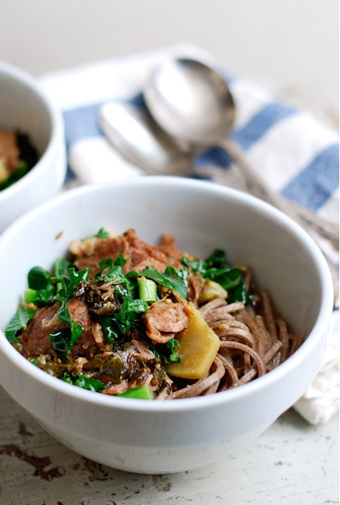 Honey Ginger Braised Pork with Kale