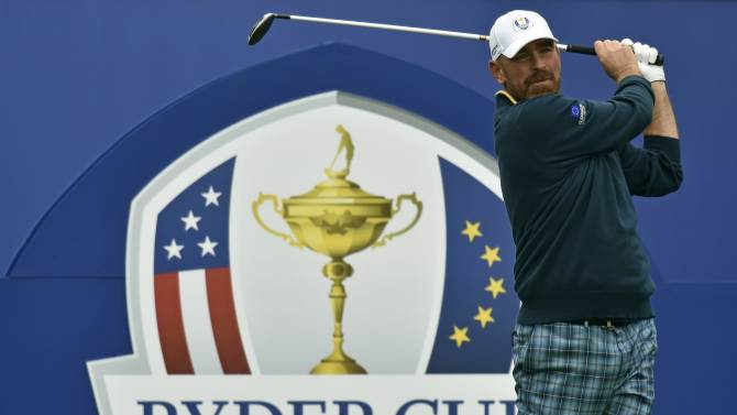 European Ryder Cup player Thomas Bjorn watches his tee shot during practice ahead of the 2014 Ryder Cup at Gleneagles