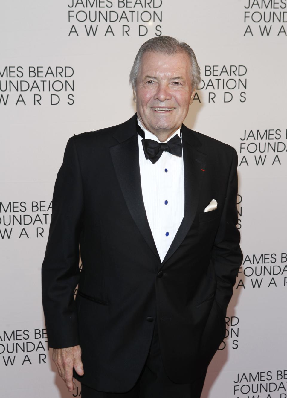 Chef Jacques Pepin arrives for the James Beard Foundation Awards, Monday, May 7, 2012, in New York. (AP Photo/Jason DeCrow)