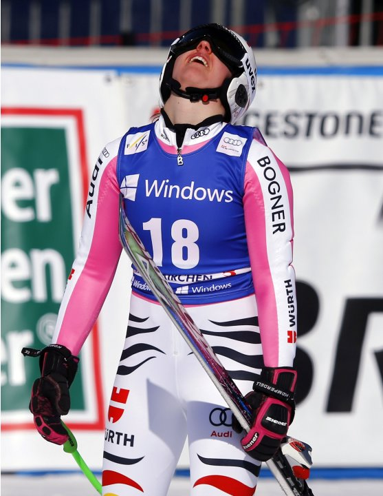 Germany's Rebensburg reacts after the women's Alpine Skiing World Cup super-G race in Garmisch-Partenkirchen