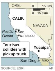 Map locates Yucaipa, Calif, where a tour bus collided with a pickup truck, killing eight people