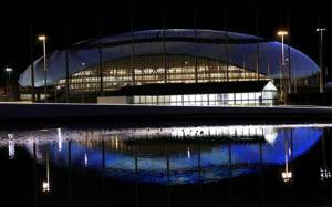 General view of Bolshoy Ice Dome in the Adler district of Sochi