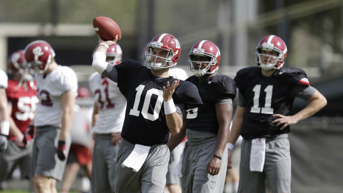 Alabama quarterback AJ McCarron (10) throws a pass during practice, Friday, Jan. 4, 2013, in Miami Shores, Fla. Alabama is scheduled to play Notre Dame on Monday, Jan. 7, in the BCS national championship NCAA college football game. (AP Photo/Wilfredo Lee)