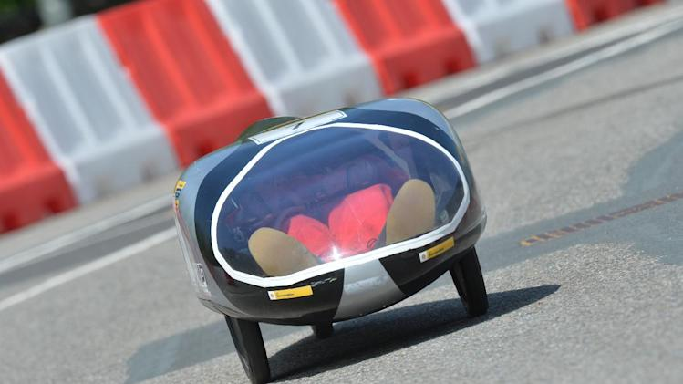 IMAGE DISTRIBUTED FOR SHELL - The Autonomie III, vehicle No. 7, Prototype, running on Diesel, competing for team GMP Valenciennes from IUT GMP Valenciennes, France, on the track during final day of competition at the Shell Eco-marathon Challenge Europe held at The Ahoy centre in Rotterdam, The Netherlands on  Sunday, May 19, 2013. Teams from universities all over Europe have brought their energy efficient cars to compete through the three-day challenge. (Ermindo Armino/AP Images for Shell)