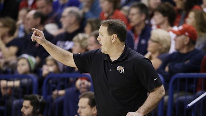 Pacific head coach Ron Verlin talks to his team during the first half of an NCAA college basketball game against Gonzaga in Spokane, Wash., Saturday, Jan. 24, 2015. (AP Photo/Young Kwak)
