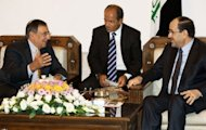 US Secretary of Defense Leon Panetta (L) meets with Iraqi Prime Minister Nuri al-Maliki (R) at the Prime Minister's residence in Baghdad. American forces are pursuing Iran-backed insurgents in Iraq, Panetta said in Baghdad on Monday as US deaths spike nearly a year after US troops formally ended combat operations