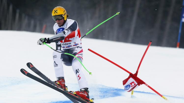 Franz of Austria clears a gate during the men's World Cup Super-G skiing race in Val Gardena