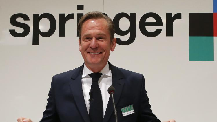 Doepfner, CEO of German publisher Axel Springer, awaits the start of the annual shareholders meeting of Axel Springer in Berlin