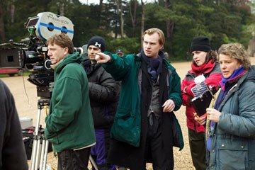 Director Christopher Nolan and crew filming Warner Bros. Pictures' Batman Begins