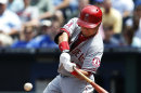 Los Angeles Angels' Hank Conger (16) hits a solo home run during the sixth inning of a baseball game against the Kansas City Royals at Kauffman Stadium in Kansas City, Mo., Saturday, May 25, 2013. (AP Photo/Orlin Wagner)
