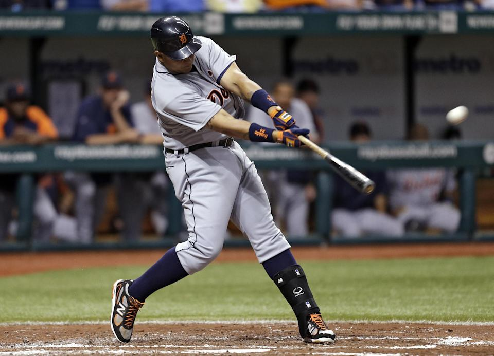 Detroit Tigers' Miguel Cabrera follows through on a fourth-inning home run, his second of the game, off Tampa Bay Rays starting pitcher Alex Colome during a baseball game, Friday, June 28, 2013, in St. Petersburg, Fla. (AP Photo/Chris O'Meara)