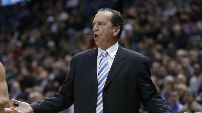 Milwaukee Bucks coach Jim Boylan reacts during the first half of an NBA basketball game against the Phoenix Suns on Tuesday, Jan. 8, 2013, in Milwaukee. (AP Photo/Jeffrey Phelps)