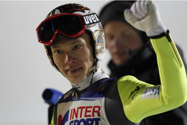 Takeuchi of Japan gestures during the FIS World Cup ski jumping in Lillehammer