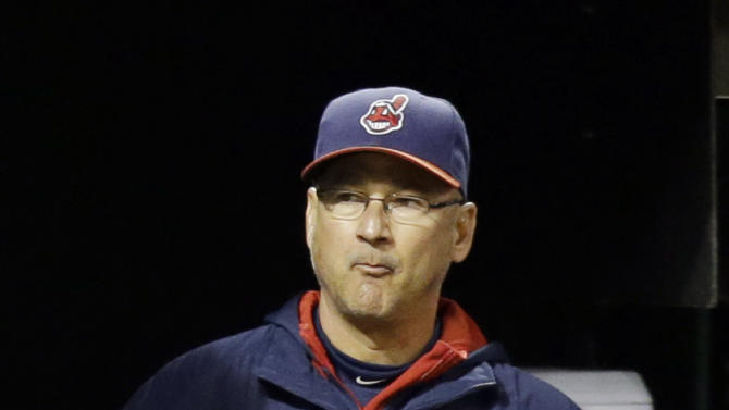 Cleveland Indians manager Terry Francona watches in the ninth inning of a baseball game against the Kansas City Royals, Monday, Sept. 22, 2014, in Cleveland. The Royals defeated the Indians 2-0. (AP Photo/Tony Dejak)