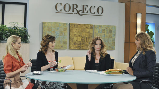 """In this image released by ABC,  from left to right, Kate Reinders, Kirstin Eggers, Rebecca Mader and Ben Koldyke are seen during a scene from """"Work It,"""" on the ABC Television Network. (AP Photo/ABC, Eric McCandless)"""