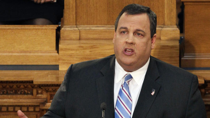 """FILE - In this Feb. 21, 2012 file photo, New Jersey Gov. Chris Christie  delivers his budget address in Trenton, N.J. Civil rights groups in the Northeast pressed Thursday, March 1, 2012,  for an investigation of the New York Police Department's secret surveillance of Muslims in the region, a day after New Jersey Gov. Chris Christie assailed the agency for having a """"masters of the universe"""" mentality and acting either out of arrogance or paranoia.(AP Photo/Mel Evans, File)"""