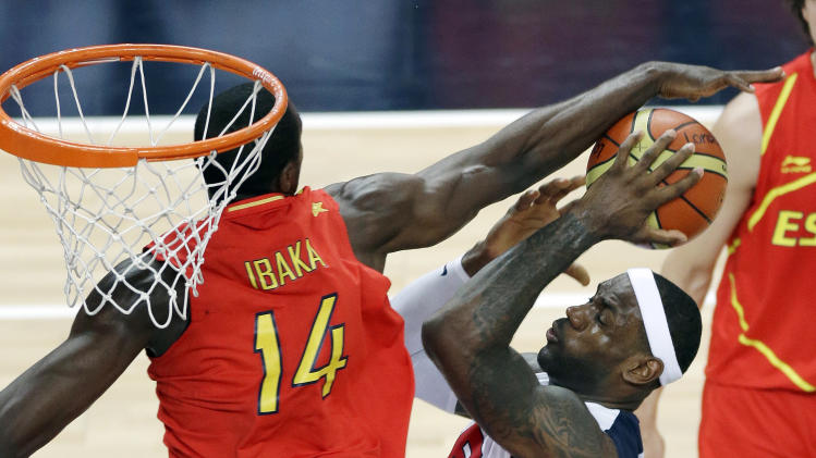 United States' LeBron James puts up a shot against Spain's Serge Ibaka during the men's gold medal basketball game at the 2012 Summer Olympics, Sunday, Aug. 12, 2012, in London. (AP Photo/Victor Caivano)