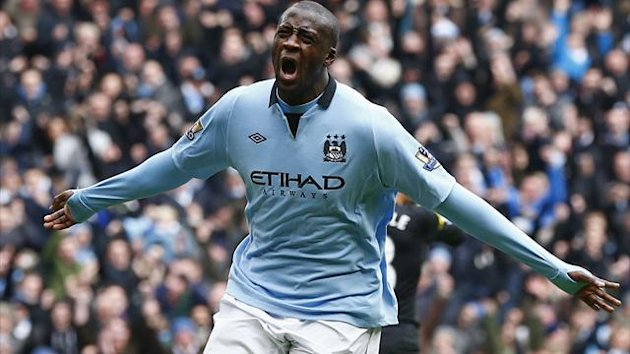 Manchester City's Yaya Toure celebrates his goal against Chelsea during their English Premier League soccer match at the Etihad Stadium in Manchester, northern England, February 24, 2013 (Reuters)