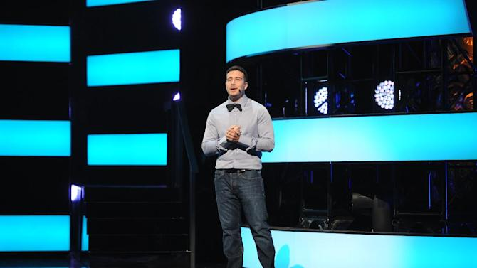 """Vinny Guadagnino from """"The Show With Vinny"""" introduces his show at the 2013 MTV Upfront, on Thursday, April 25, 2013 at the Beacon Theater in New York. (Photo by Scott Gries/Invision/AP Images)"""