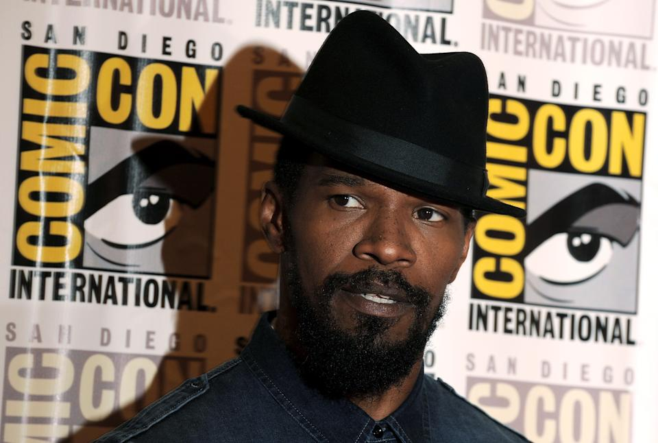 "Jamie Foxx poses at the ""Django Unchained"" press line at Comic Con, Saturday, July 14, 2012, in San Diego. (Photo by Jordan Strauss/Invision/AP)"