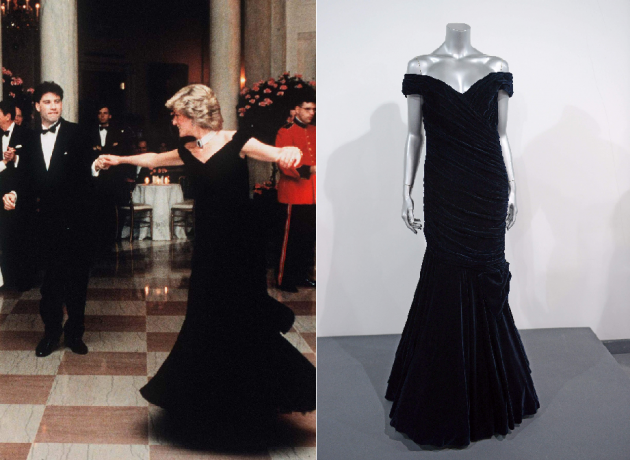 Princess Diana dancing with John Travolta / Black dress auction -- Getty Images / WireImage