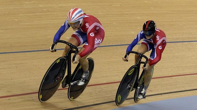 Team Britain cyclists Jess Varnish (L) and Victoria Pendleton compete in the Women's Team Sprint Qualifying at the UCI Track Cycling World Cup at the Olympic Velodrome
