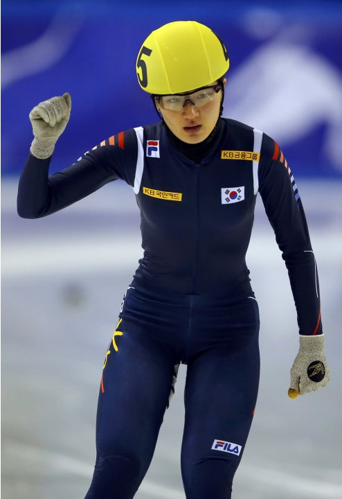 Park of South Korea celebrates her victory at the women's 1500m finals during the ISU World Short Track Speed Skating Championships in Debrecen