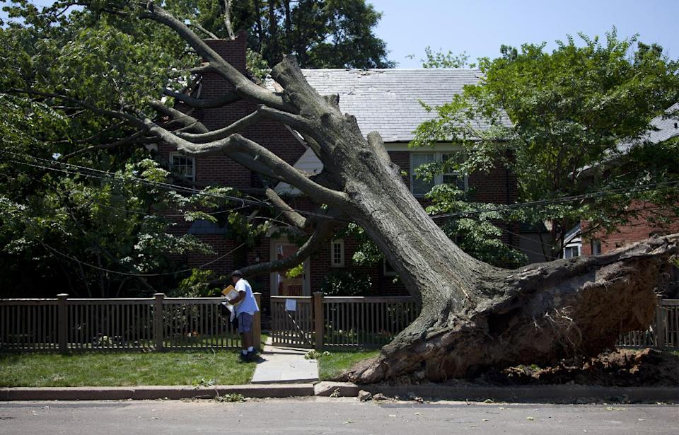 Giovanny Alvarez, a letter carrier for the U.S. Postal Service, delivers mail to a residence in Washington, Monday, July 2, 2012 that damaged by the powerful storm that swept through the region Friday.  (AP Photo/Evan Vucci)
