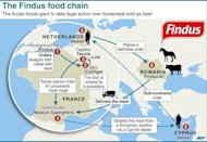 Map of Europe showing the food chain for meat products used in Findus products. Swedish authorities said Tuesday they would carry out DNA tests on meat in ready-made meals sold in supermarkets after frozen food giant Findus found horsemeat in its products