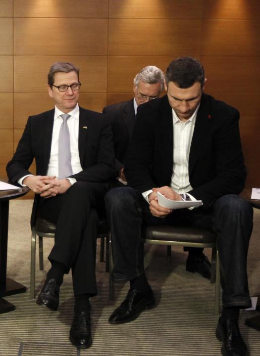 German Foreign Minister Guido Westerwelle meets with Vitali Klitschko, heavyweight boxing champion and UDAR (Ukrainian Democratic Alliance for Reform) party leader, in Kiev