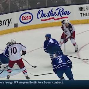 Artem Anisimov beats Reimer with a one-timer