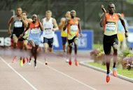 David Rudisha of Kenya leads the pack on his way to winning the Men&#39;s 800m race at the 2012 Adidas Grand Prix in New York