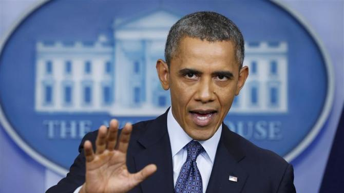U.S. President Obama speaks about the continuing government shutdown during White House news conference in Washington