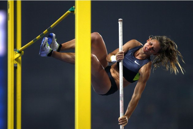 Katy Viuf of U.S. fails a jump during the women's pole vault at the IAAF Diamond League Athletics meet in Shanghai